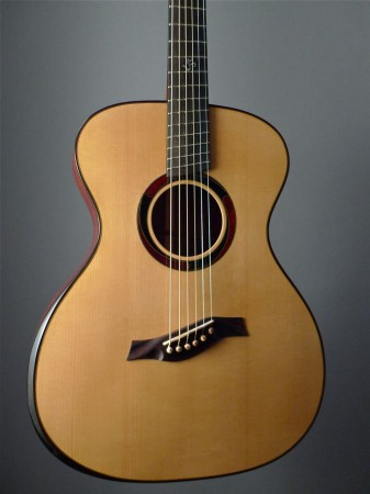 red adirondack spruce top fanned fret body of handmade Mountain Song Guitars Dream Series Baritone Guitar