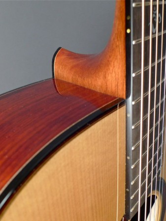 heel view from the front of Mountain Song Guitars Dream Series Baritone Guitar